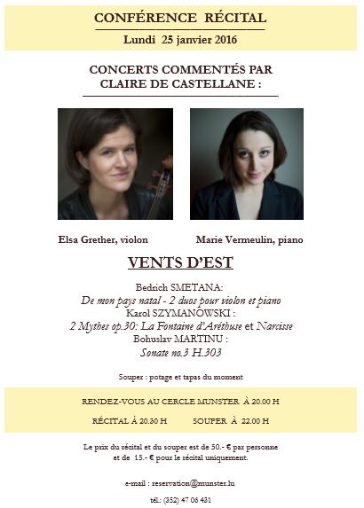 Invitation concert commenté 25 janvier 16 Cercle Munster